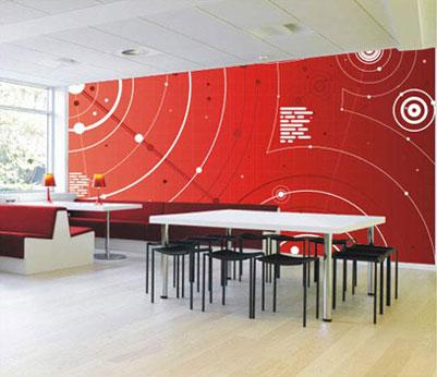 Exemplo de aplicação do mural em adesivo