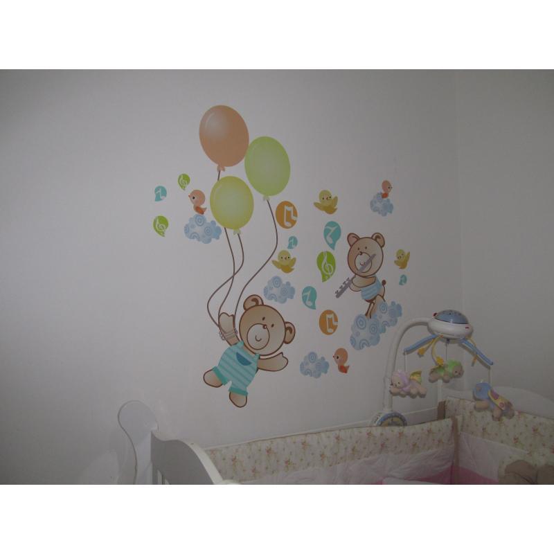 Adesivo de Parede Adesivo de Parede Ursos para bebês Grudado ~ Adesivos De Parede Para Quarto De Bebe Urso